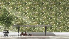 A colourful tropical jungle design from the Freundin Home Collection. Vivid tropical greenery and brightly coloured birds on a slightly textured cream background. Tropical Wallpaper, Green Wallpaper, Wall Wallpaper, Entryway Bench, Dining Bench, Vinyl, Home Collections, Outdoor Furniture, Outdoor Decor