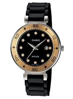 Casio Womens LTP13299E1V Black Resin Quartz Watch with Black Dial * Click image to review more details.
