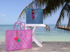 NEW! We are delighted with this hand-woven bags from artisans in Oaxaca, we had to take them to the beach in Cancun today! Great colors and designs, ethically made with love from Mexico.