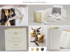 Mit #Goldprägung veredelt: #Hochzeitspapeterie aus der Serie Evania