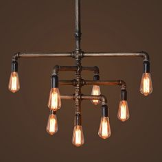 SEOL-LIGHT Barn Adjustable Pipe Chandeliers with 9 light(Industrial-Style)Max 540W Metal Fixture, Pendant light, Dinning Table, Bar, Foyer, Entry way, Study - - Amazon.com