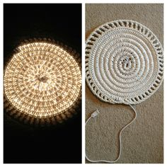 Crocheted rope light rug! I just made it and I really love it! Another DIY pinterest project... Check!