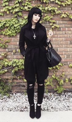 Black coat with ripped pants, handbag & boots by jessicahazemua