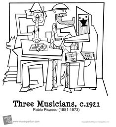 Three Musicians by Pablo Picasso Coloring Page – Fun Time Pablo Picasso, Picasso Art, Guernica, Adult Coloring Pages, Coloring Pages For Kids, Kids Coloring, Cubism Art, The Masterpiece, Teaching Art