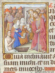 Sv. Marta ~ St. Martha; Vzkřísení Lazara; Kniha hodinek, 1480-1500, Francie, Paříž; The Morgan Library & Museum