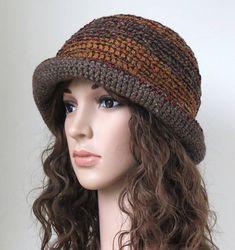 Brown Brim Hat Crochet Floppy Hat Boho Fashion Unique