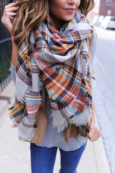 Plaid Blanket Scarf- Mustard - Dottie Couture Boutique