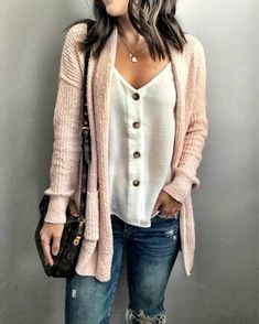 cardigan jeans simple and casual spring and fall outfit