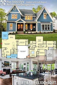 Architectural Designs Exclusive House Plan 500037VV has gives you 4 beds, 4.5 baths and 3,100+ square feet of heated living space. Ready when you are. Where do YOU want to build? #500037VV #adhouseplans #architecturaldesigns #houseplan #architecture #newhome #newconstruction #newhouse #homedesign #dreamhouse #homeplan #architecture #architect #houses #craftsmanhome #countryhome #openfloorplan #openconcept