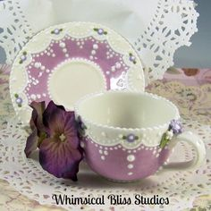Whimsical Bliss Studios - Baker of Fine Ceramic Confections Tea Pot Set, Cup And Saucer Set, Tea Cup Saucer, Chocolate Cafe, China Tea Sets, Teapots And Cups, Tea Cakes, Sweet Tea, Tea Time
