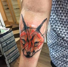 Colorful sketch style fox tattoo by Kamil Mokot