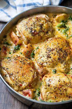 Chicken and Potatoes in Garlic Parmesan Spinach Cream Sauce