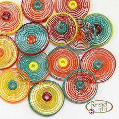 Set of Lampwork Glass Disc Beads, Handmade Yellow, Teal, Red, Orange Glass Disc Beads, Artisan Jewelry (12)