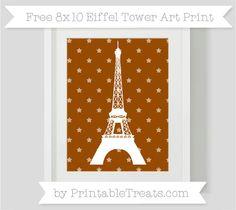 Brown Star Pattern  8x10 Eiffel Tower Art Print
