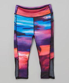 Look what I found on #zulily! Purple & Blue Abstract Capri Leggings - Kids & Tween #zulilyfinds