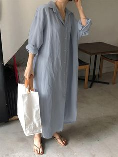 2019 autumn new large size women's loose long shirt skirt casual Cotton and linen cardigan wild shirt. Button Down Shirt Dress, Long Sleeve Shirt Dress, Blouse Dress, Long Sleeve Shirts, Loose Shirts, Shirt Skirt, Image Mode, Fall Outfits, Fashion Outfits