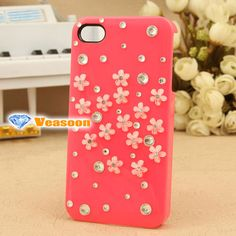 Bling rhinestone iphone case Cute iPhone case Flowers by Veasoon, $18.99
