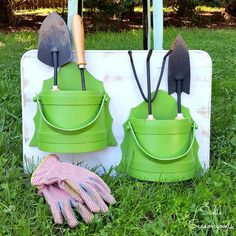 Need to keep your gardening hand tools organized? Repurpose some thrift store sconces and a beat up cutting board into an easy DIY holder/organizer!