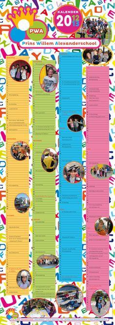 Schoolkalender 2012-2013 voor de Prins Willem Alexanderschool in Zoetermeer.  Formaat 840 x 297 mm.