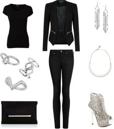 "[Requested by Anonymous] Outfit inspired by 2NE1's CL in ""I am the best"" More Outfit on I Dress Kpop Get The Look : Black T-Shirt Ring with Loop Ring with Cut Out Diamond V Ring Black and Silver Clutch Black Blazer with zippers Black Pants Arrow Drop Earrings Necklace Silver Shoes"