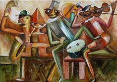 TADEUSZ MAKOWSKI JAZZ Jazz, Illustration, Artist, Polish, Painting, Image, Vitreous Enamel, Jazz Music, Artists