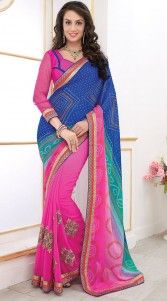 Beautiful pink and blue poly georgette half and half saree which is crafted with a zari, resham embroidery work on the first half, bandhej printed work on the pallu part and lace work on the border. This sari comes with matching blouse piece.The blouse of this saree can be stitched in the maximum bust size of 40 inches...