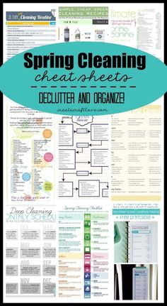 Spring Cleaning Cheat Sheets - everything you need to declutter and organize this spring! Organize and clean your whole house. by audrey