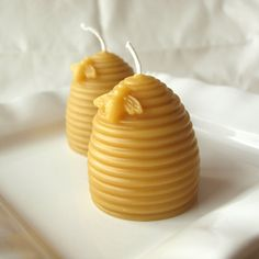 One Pair of Hand Poured Pure Beeswax Votive Candles - Sale Benefits the Sweet Bea Fund. $8.50