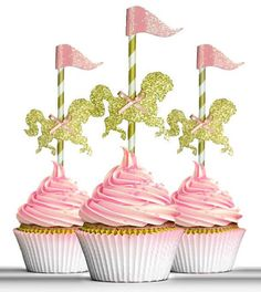 Carousel Horse Cake Toppers Merry go around Carnival cupcake