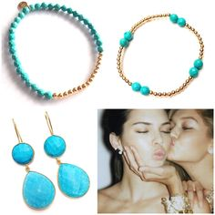 We LOVE Turquoise  Jewerly with pure gold! www.pscallme.nl