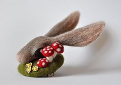 Rabbit Fascinator with Mushrooms and Vintage by lizzieneedles