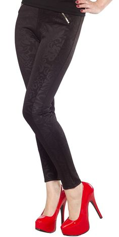 ZIPPER FRONT BROCADE LEGGINGS Dress up any tunic with these fancy brocade leggings. These polyester-spandex blended leggings feature a unique pattern woven to to the fabric and 2 ornamental zippers near the waist. $26.00 #leggings #brocade