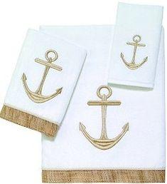 Golden Anchors Embroidered Towel Sets Nautical Gifts, Nautical Home, Nautical Anchor, Nautical Style, Nautical Bedroom, Nautical Christmas, Coastal Bedrooms, Nautical Fashion, Coastal Style