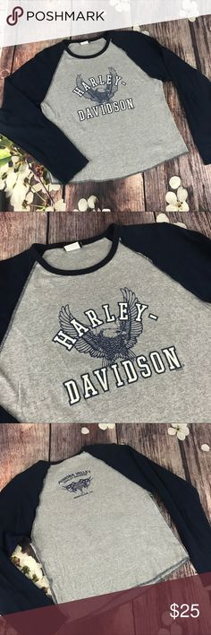"""Harley Davidson Ladies Top Baseball style gray with blue long sleeves Harley Davidson top with an Eagle on front.  This one is from Pomona Valley Harley Davidson, Montclair, CA.  Material 100% cotton.  Measurements: pit to pit approx 36"""" length approx 21"""".  Size L (check measurements - may run small) Harley-Davidson Tops Tees - Long Sleeve"""