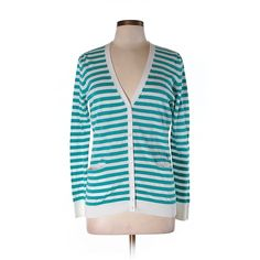 Pre-owned Cotton by Autumn Cashmere Cardigan ($61) ❤ liked on Polyvore featuring tops, cardigans, teal, blue top, cardigan top, teal tops, autumn cashmere cardigan and autumn cashmere