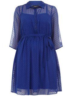 Scarlett & Jo Blue Spot Dobby Shirt Dress - Clothing