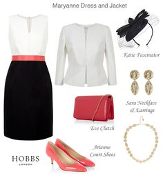 Hobbs black and ivory shift dress and matching tailored jacket coordinating accessories geranium pink court shoes and chain clutch bag