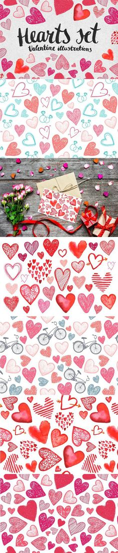Hearts set. Valentine illustrations. Wedding Card Templates