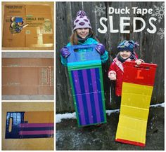 Sled made with duct tape & cardboard