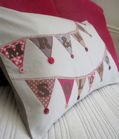 £34 The Bunting Cushion In hot pink and vintage cream this design is a funky addition to your home! www.materialise.me.uk #cushion #fabric #gift #textile #handmade #personalised #home #wirral #designer #wedding #name #present #birthday #pink #bunting