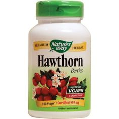 Hawthorn Berries - Nature's Way. Used to promote the health of the circulatory system, treat angina, high blood pressure, congestive heart failure and cardiac arrhythmia and has been found to strengthen the heart. Hawthorn is a safe and effective treatment for the early stages of heart disease and has been used for a number of ailments including angina, myocarditis, arteriosclerosis, nervous conditions like insomnia, and diarrhea.