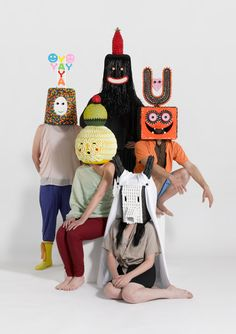 Damien Poulain is a London-based graphic designer and art director. Poulain also designed a series of five fabulous and fashionably freaky masks. Crazy Halloween Costumes, Costumes Kids, Halloween Masks, Weird Costumes, Group Halloween, Foto Fashion, Art Plastique, Oeuvre D'art, Puppets