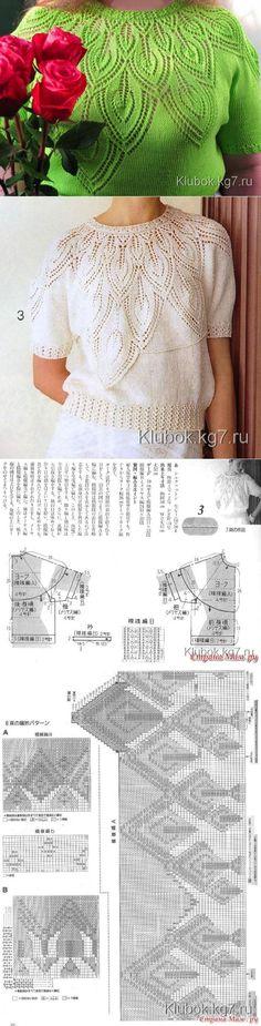 lady knit sweater leaf pattern