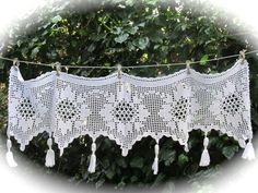 Crochet Lace Valance White French Crochet Panel by HatchedinFrance, $49.00