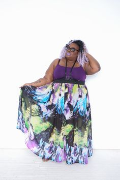 Electric Watercolor Maxi Skirt - Re/Dress Online