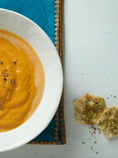 Sweet Potato and Coconut Soup with Za'atar GF Crackers