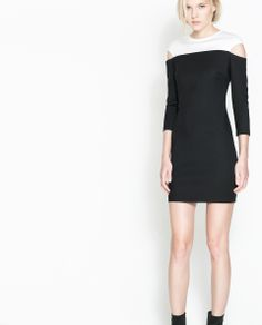 ZARA - TRF - TWO-TONE DRESS WITH EXPOSED SHOULDER
