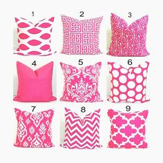 PINK PILLOWS.18x18 inch Decorative Pillow Cover.Pink Pillow Cover.Home Decor..Damask.Ikat.Greek Key.Chevron.Zebra.Stripe.Solid.Damask.46 cm.