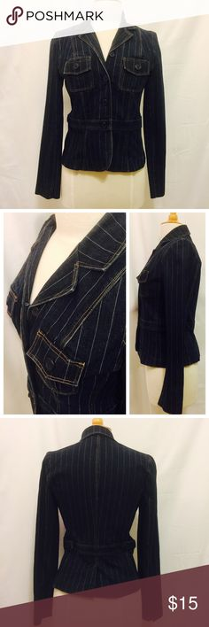 "Denim Pin Stripped Blazer Details: Pre-owned, good condition, fitted, bust = 35"", length = 24"" Campaigne Jackets & Coats Blazers"