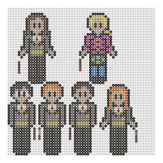 Harry Potter perler patterns by geek-2perlerbeads: Harry Potter, Ron Weasley, Neville Longbottom, Ginny Weasley,  Hermione Granger and Luna Lovegood.